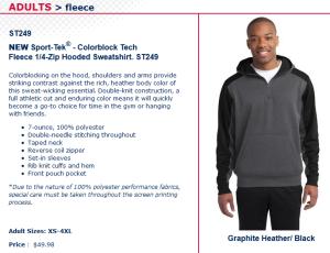 quarter zip fleece hoodie